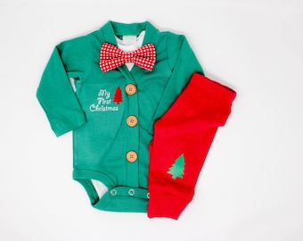 Baby Boy Christmas Outfit. Classic Cardigan Set with Pants. Red and Green. Preppy. Bow tie. 1st Christmas. Newborn Boy. Holiday Clothes.