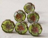 14mm Czech Glass Flower Beads -  Peridot Aqua Mix - Jewelry Making Supplies - 14mm Hawaiian Pansy Flower Bead  (10 or 4 beads)