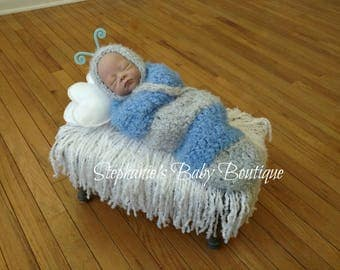 Ready To Ship, Crochet Newborn Baby Boy, Furry Little Caterpillar Set, Newborn Photo Prop, Bonnet, Cocoon, Baby Shower Gift, Blue and Gray