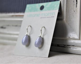 Sterling silver and blue lace agate drops Earrings - handmade earrings silver 925