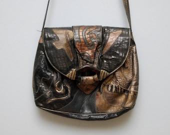 Vintage SHARIF Bag 1980's Black, Brown and Metallic Leather Patchwork Cross-Body Handbag Purse Bag with Tortoiseshell Buckle Crossbody Bag
