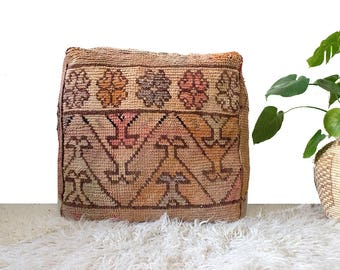 Vintage Moroccan Pouf / Moroccan Boujaad Pouf / Moroccan Floor Pouf / Moroccan Floor Cushion / Kilim Pouf / Pouf Cover / FREE US SHIPPING
