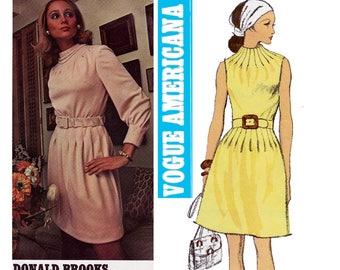 DONALD BROOKS Funnel Neck Dress Vogue Americana 2263 Vintage 70s Sewing Pattern Size 14 Bust 36 UNCUT Factory Folds