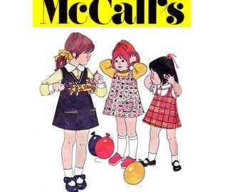 70s Toddler Girls Jumper Pattern McCalls 3758 Vintage Sewing Pattern Size 4 Breast 23 inches