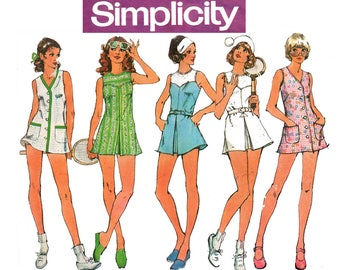 Simplicity 5632 Womens Mini Tennis Dress & Bloomers 70s Vintage Sewing Pattern Size 8 Bust 31 1/2 inches