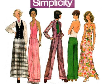 Simplicity 5409 Womens Blouse Halter Vest Flares & Maxi Skirt 70s Vintage Sewing Pattern Size 10 Bust 32 1/2 inches