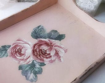 Shabby Chic Pink Floral Wood Tray. Rustic Farmhouse Wood Decorative Serving Tray. French Chic Office Tray. Altered Midcentury Teak wood Tray
