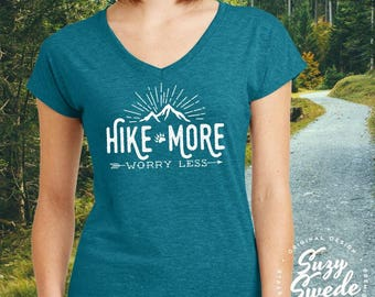 Hiking Shirt ~ Hike More Worry Less Ladies' V-Neck T-Shirt- adventure camping shirt, outdoors, wanderlust shirt, arrows, women's v-neck
