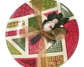 Quilted Christmas Platter with Snowman Spreader