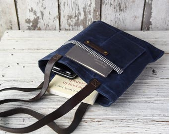 Waxed Canvas Book Bag, Rustic Reader Bag, Rook Navy Blue, Canvas Tote Bag, Handbag, Gift for Her, Minimal, Gift for Wife, Canvas Book Bag