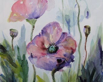 Purple Poppies floral original watercolor painting 15x11 Art by Delilah