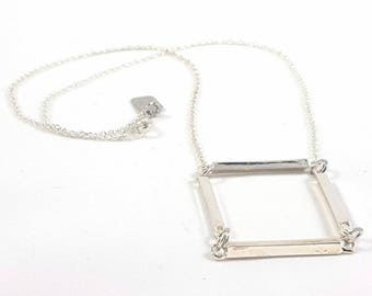 Geometric Bar Necklace Square Mod Modernist Modern Pendant
