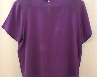 Vinatge Petite Purple 100% Silk Blouse