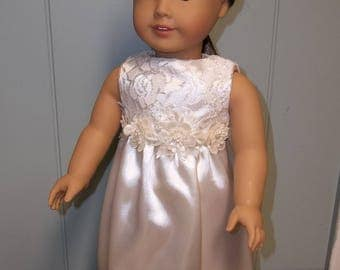 """Ivory Wedding Dress for 18"""" doll, with Veil"""