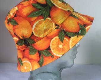 vintage 90's raver bucket hat orange fruit novelty print orange crush citrus fantasy