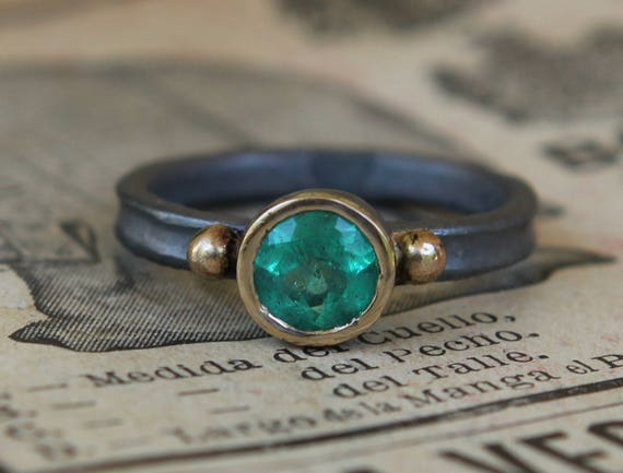 Hand Forged .80 CT Certified Natural Columbian Emerald Ring Oxidized Sterling And 18K Gold SZ 6.5