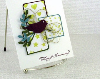 Anniversary Card Handmade Happy Anniversary Handcrafted for Spouse Husband Wife Friends Relatives Choice of Sentiments
