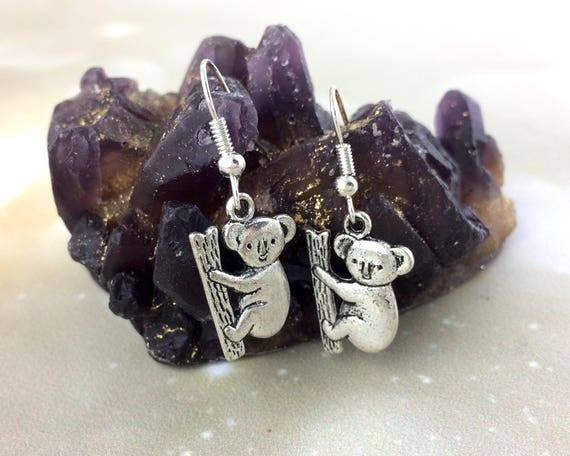 Sterling Silver Koala Bear Earrings