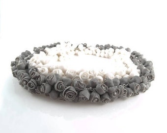 Porcelain Flower Statement Necklace with White or Gray Roses Flowers, Sterling Silver Necklace, Porcelain Jewelry ,Bridal Necklace Wedd