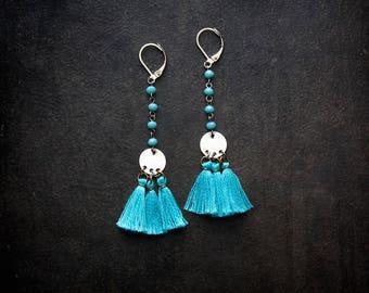 Turquoise Tassel Earring Boho Fringe Silver Coin Festival Blue Crystal Rosary Chain Shoulder Duster Long Bohemian Gypset Wanderlust