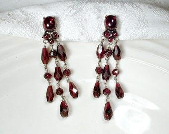 Haute Couture SIMAN TU Bohemian Garnet Art Deco Earrings, Natural Gemstone Antique Silver Red Statement Chandelier Earrings 1920 Dangle Drop