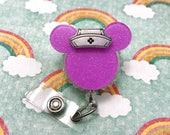 Minnie Mickey Mouse Ears Purple Silhouette Badge Reel Retractable Disney ID Holder Nurse Hat CNA RN Technician Rhinestone