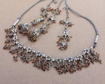 Indian Necklace Earrings Mang Tikka, Boho, Bollywood, Bridal Jewelry, Clear Brown Rhinestones Black Silver Cord, Vintage