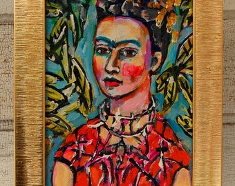 Frida 5x7 original painting with shabby gold frame