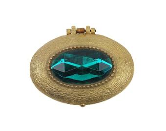 Vintage Petite Small Oval Perfume Compact Large Emerald Rhinestone and Gold Tone Case Helena Rubinstein Heaven Sent Perfume Compact