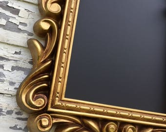 Ready To Ship - Gold Vintage Framed Ornate Magnetic Chalkboard Gothic Decor Unique Chalkboard Gold Chalk board Office Decor