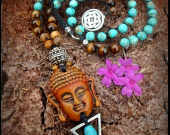 BUDDHA Ji Necklace Crochet jewelry Reiki energy Turquoise necklace Spiritual amulet Statement Yoga jewelry Earthy necklace Tigereye GPyoga