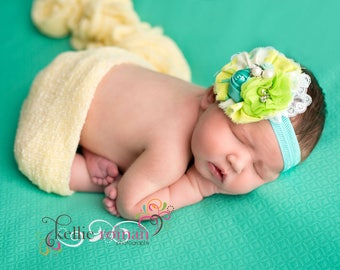 Lime and Light - teal yellow lime and aqua ruffle rosette headband bow