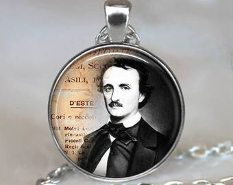 Edgar Allen Poe necklace, Poe pendant literary pendant literary jewelry bookish Halloween gift for reader key chain key ring brooch pin