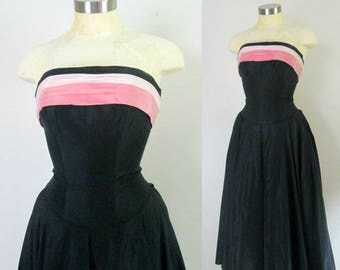 Taffeta Strapless Party Dress // Mid Century Formal Evening Black and Pink