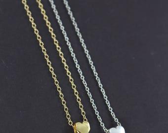 3 Bridesmaid Gift Heart Necklaces Silver , Tiny Floating Heart Charm Necklace , Bridesmaid Gift , 925 Sterling Silver