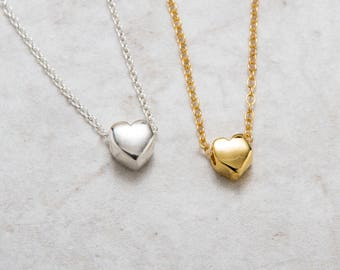 Heart Necklace Gold , Tiny Floating Heart Charm Necklace , Bridesmaid Gift , 18K Gold Filled