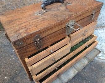 wooden tool box etsy. antique wood machinist tool chest 7 drawer industrial primitive rustic box storage compartments handle wooden etsy e