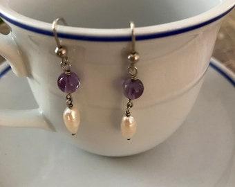 Vintage Amethyst and Pearl Dangle Earrings