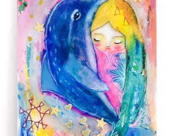 Dolphin and girl art print, dolphin spirit animal, sea animals print, whimsical art, mixed media art, wall art, nursery girl print, colorful