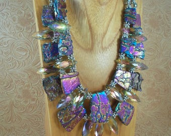 Statement Necklace Set - Chunky Titanium Plated Agate and Crystal