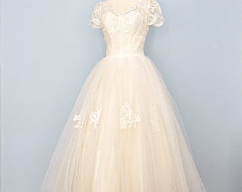 RESERVED 1950s Wedding Dress...Beautiful Vintage Ivory Ballerina Length Lace and Tulle Wedding Dress 27 Inch Waist