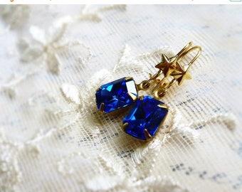 MOVING SALE Simple Sapphires & Stars,Vintage Swarovski Sapphire Blue  Rhinestones,Old Hollywood Style,Golden Stars Jewel Earrings,Hollywood
