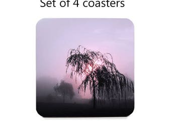 Landscape coaster set, drink coasters, set of 4, willow tree coasters, photography, cork back coasters, housewarming gift, hostess gift