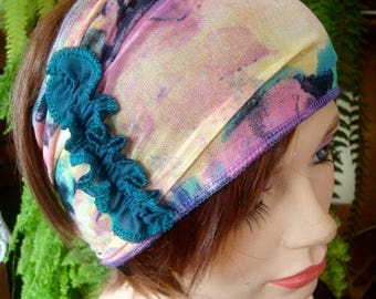 Womens  Headband adult headband hairband mesh multi colored fun print