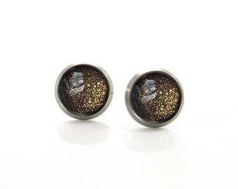 Pure Titanium Jewelry Earrings for sensitive ears Black gold glitter Shimmering Gold Hypoallergenic Stud | Titanium Jewelry Stud earrings
