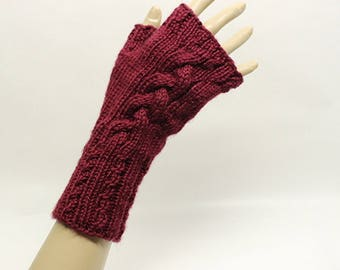 Cabled Fingerless Gloves in Wine  FG009