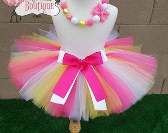 PINK PRINCESS- Pink, white, yellow shimmer tutu with hairbow:  Newborn-5T