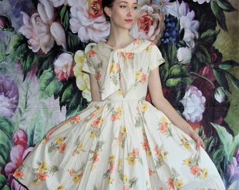 50s Clothing - Vintage 1950s Floral Polished Cotton Pinup Bombshell Yellow and Orange Cupcake Prom Wedding Dress -  50s Dresses - WV0384