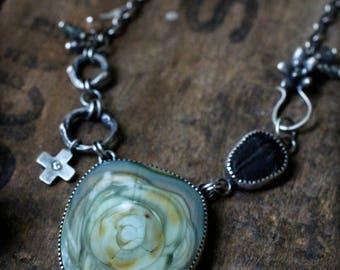Trailblazer Necklace - Imperial Jasper, Ancient Trilobite, Diamond, Gemstone Beads, Cast Twigs and Succulent, Sterling & Fine Silver