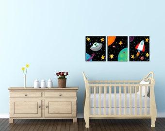3 Black Space Canvas Art PRINTS, pick a size, space themed kids decor, solar system nursery